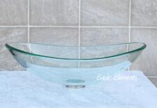 Bathroom Glass Vessel Sink Clear Oval Boat Shape + * Free Pop Up Drain *** TB5
