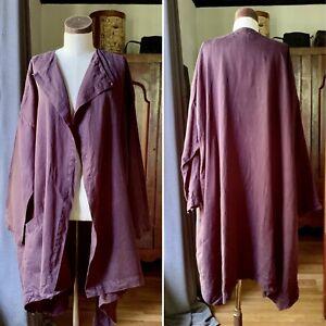 Rare ESKANDAR Smaller Front Larger Back PLUM Jacket Coat Long Plus SZ 1 LINEN