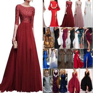 Damen Lange Abendkleid Maxikleid Cocktail Brautjungfernkleid Hochzeit Partykleid
