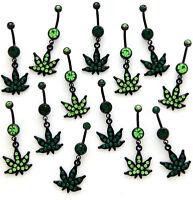 1 PIECE 14g Pot Leaf  Belly  Navel Ring Light Green CZ Gem With Black Leaf #1