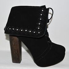 NAUGHTY MONKEY SZ 6 M BLACK STUDDED SUEDE PLATFORM ANKLE BOOTS LACE UP BOOTIES
