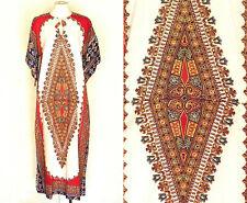 60s 70s Caftan Dress Vtg White Dashiki Angel Sleeves Hippie M to L Deadstock