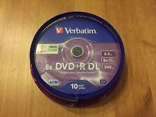 10 DVD+R Doble Capa Verbatim 8x 8.5 GB MKM003 Double Layer DL Tarrina 20 25 50