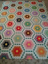Vintage Handmade Patchwork Quilt Top Folk Art 91x71 Stunning Great Colors WOW
