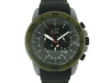 NEW ARMANI EXCHANGE BLACK SILICONE BAND+GREEN CHRONOGRAPH DATE WATCH AX1201
