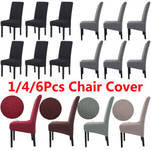 1/4/6Pcs High Back Chair Covers Knit Twill Stretch Removable Seat Slipcovers