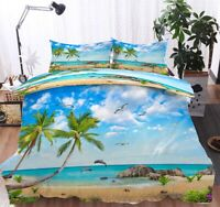 Scenery On Beach 3D Quilt Duvet Doona Cover Set Single Double Queen King Print