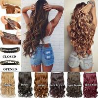 Eg _ Lk _5 Pinces Naturel Fibre Synthétique Postiche Femmes Long Cheveux Bouclés