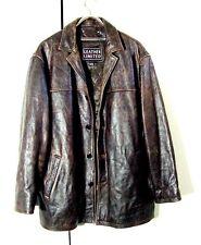 Vtg Distressed Leather Limited Supernatural Dark Brown Button Jacket Sz 2XL