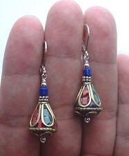 Handmade Nepal Beads W. Blue Lapis Lazuli Sterling Silver Earrings  A1108