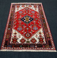 Orient Teppich Rot 192 x 130 cm Blau Beige Perserteppich Handgeknüpft Carpet Rug
