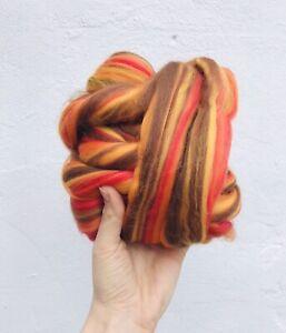 Needle Felting, Orange Blend Corriedale/Merino. Felting Wool Rovings 50g
