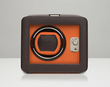 WOLF 452506 Windsor Single Watch Winder Brown/Orange With Cover