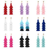 Women Girls Earring Bohemian 3/4 Layer Chunky Tassel Fringe Dangle Earrings Gift