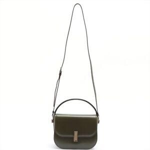 Valextra Izide Crossbody Leather 2WAY Handbag Green