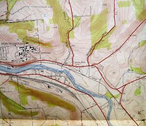 BINGHAMTON EAST QUADRANGLE NEW YORK TOPOGRAPHIC ROAD MAP 1937 VINTAGE