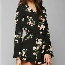 Pins & Needles Long Sleeve Black Floral Romper Urban Outfitters Size Small