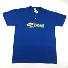 Burlington Bees Mens L Blue T Tee Shirt Henley 2 Button Minor League Baseball