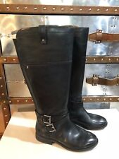 b5711a5c57a7a Marc Fisher Black Leather Wide Calf Riding Boots NEW Audrey US 6