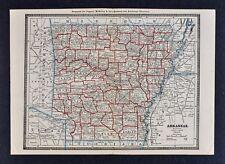 1886 Banker Attorney Map by Cram - Arkansas Little Rock Hot Springs Fayetteville