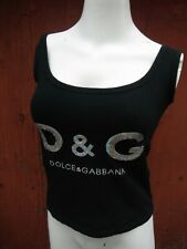 Vtg. 90's Dolce & Gabbana D&G large Holo sequin letters spellout Logo crop top M