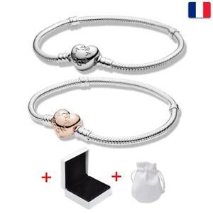 Bracelet en Sterling Argent Coeur Fermoir Serpent Chaîne Cadeau-Pandora Moments