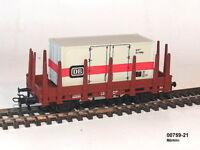 Märklin 00759-21 - Vagón Plataforma con Teleros Contenedor el Aleman Tren Nuevo