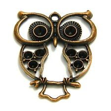 1 3/4 inch Antique Copper Big Eyed Owl Pendant Charm Plated Pewter Base Metal