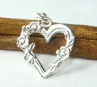 s9s1 Sterling 925 silver Heart with flowers pendant charm - Free delivery