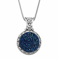 """Sajen Natural Steely Blue Druzy Pendant Necklace in Sterling Silver, 18"""""""