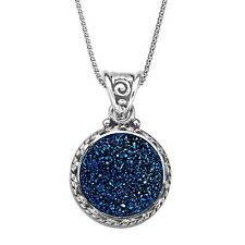 Sajen Natural Steely Blue Druzy Pendant Necklace in Sterling Silver, 18""