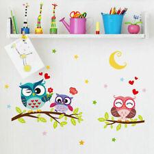 Cut Animal Owl Family Wall Decals Kids Bedroom Baby Nursery Stickers Art Room