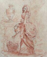 La jardinière du XVIIIe superbe aquarelle signée Marie-Antoinette datée 1895