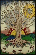DAWNING TREE OF LIFE TAPESTRY-MUSHROOMS-MOON-STARS-60X90 COTTON, HAS LOOPS
