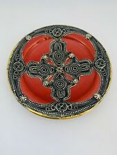 Handmade Moroccan Glazed Ceramic & Embossed Metal Wall Hanging Plate Decor