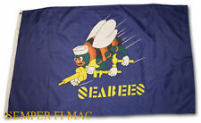 SEABEE BATTLE COLORS 3X5 FLAG BANNER USS AUTHENTIC HIGH QUALITY US NAVY GIFT WOW