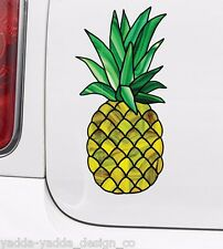 "CLR:CAR - Stained Glass Pineapple Car Decal Bottle Decal Sticker ©YYDC (3""wX6""h)"