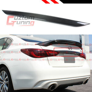 FOR 18-2021 INFINITI Q50 TRUNK LID TRIM CHROME-DELETE CARBON FIBER COVER