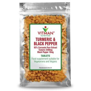 Turmeric and Black Pepper 2,500mg & 10mg Tablets : 95% Curcumin Piperine Extract