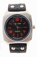 Herrenuhr Jay BAXTER Lederarmband Watch Uhr Schwarz Silber Rot Uhr echt Leder