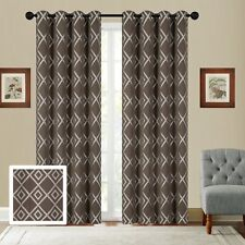 Fancy Linen Embroidery 2 Pc Curtain Set With Grommet Diamond Pattern All Colors