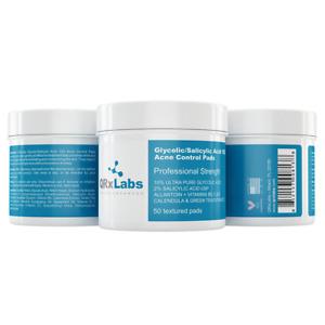NEW QRxLabs Glycolic/Salicylic Acid 10/2 Acne Control Pads 50 Pads Womens Skin