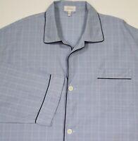 Brioni Blue/White Plaid Cittib Button-Up Pajama Top Shirt Men's~ XXL