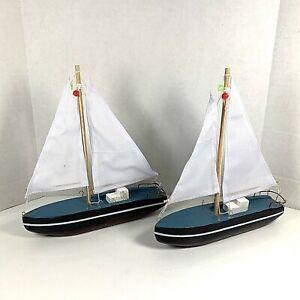 (2) Wooden Handmade Sailboats Art Nautical Decoration Set