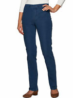 ISAAC MIZRAHI LIVE! Size 2 Regular 24/7 Denim Straight Leg Jeans MEDIUM INDIGO