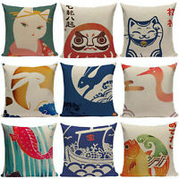 Japanese Style Sofa Chinese Pattern Pillowcase Square Pillow Cover Cotton Linen