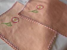 Lot de 2 anciennes pochettes roses à terminer brodees main grande ou serviette