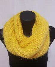 Knitted Snood Loop scarf, Black or Mustard, Fluffy Wool Feel, Winter Warm soft