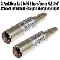 "2-Pack Hosa Lo-Z to Hi-Z Transformer XLR Male 1/4"" TS Mono Guitar to Microphone"