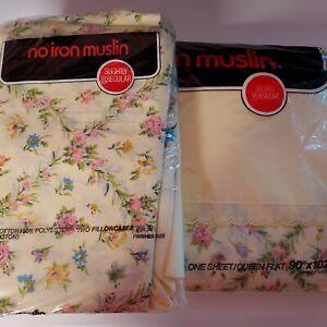 NEW Vtg Pink Blue Green Muslin Queen Flat Sheet, Pair Std Pillowcases IRREGULARS